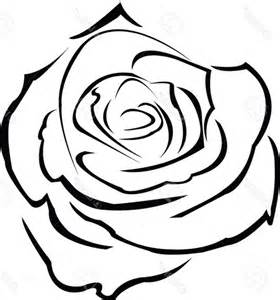 Rose Flower Outline Drawings