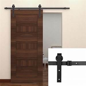 Attractive double track barn door hardware cabinet for Barn door glides