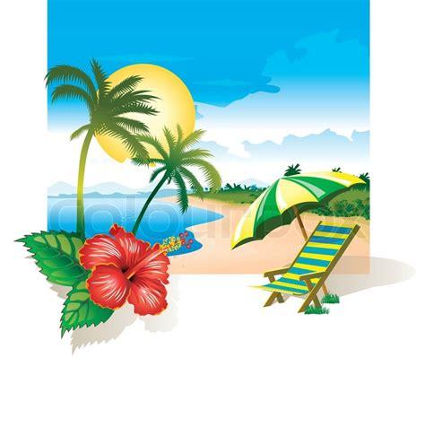summer chairs beach  flower   stock vector