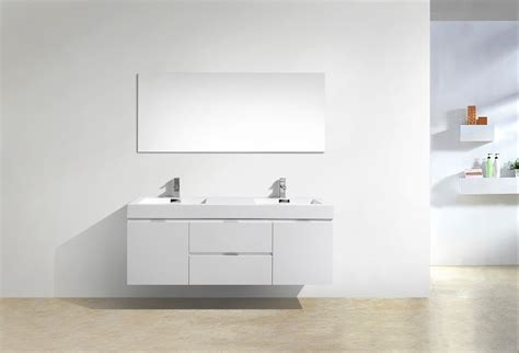 bliss  high gloss white wall mount double sink bathroom