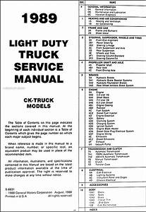 1989 Gmc C  K Sierra Pickup Truck Repair Shop Manual Original