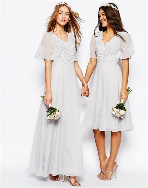 asos wedding lace  pleat maxi dress  white lyst