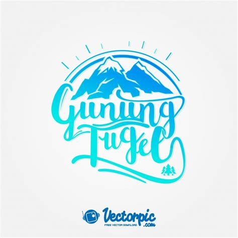 gunung tugel typography for t shirt design free vector
