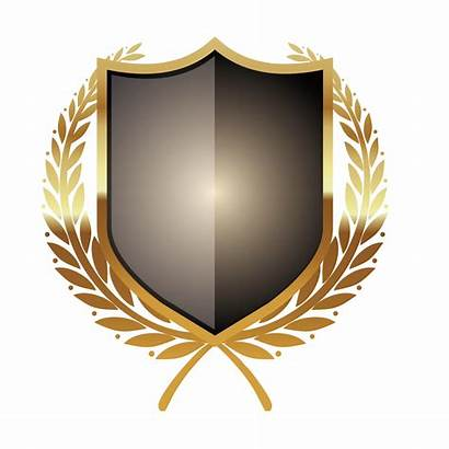 Shield Clipart Metallic Vector Metal Transparent Yellow