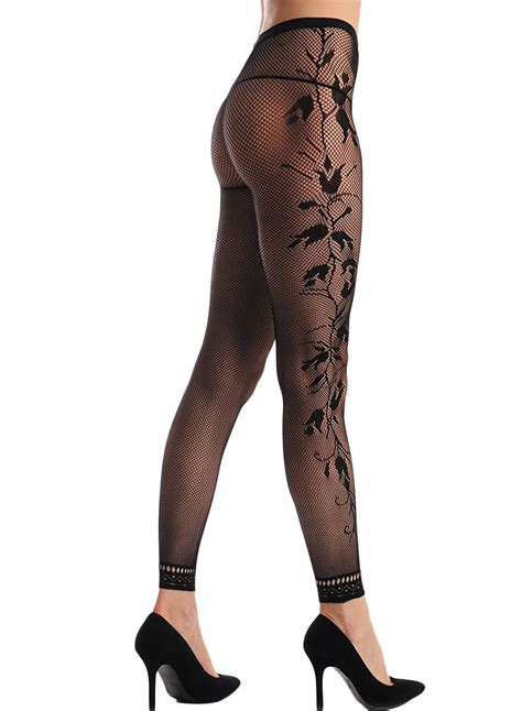 Footless Black Fishnet Floral Tights Pantyhose