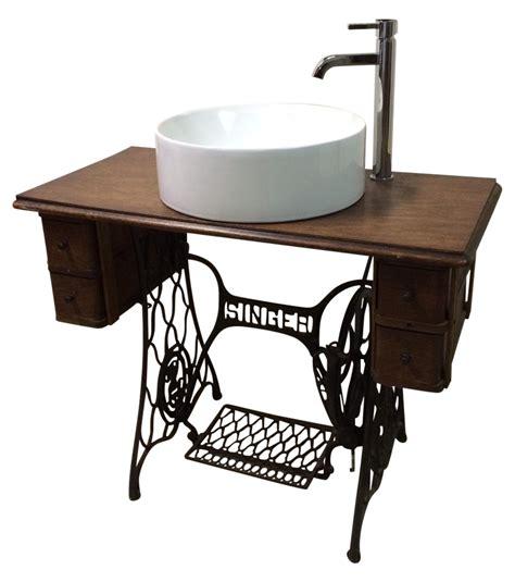 singer sewing table converted bathroom sink vanity
