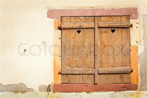 Fensterläden Holz Rustikal by Rustic Window With Wooden Shutters Stock Photo Colourbox