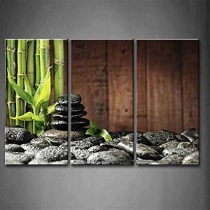 Amazoncom 3 panel wall art green spa concept bamboo for Bamboo wall art