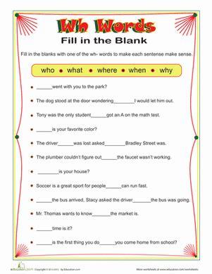 wh words worksheet education