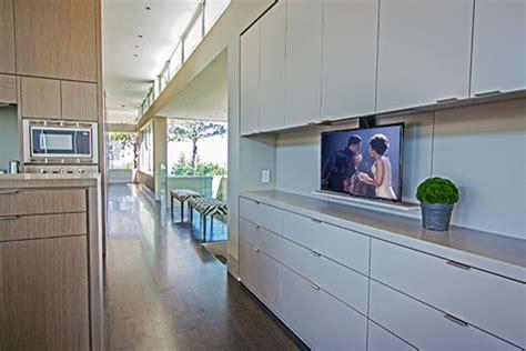 tv in kitchen cabinet modern kitchen san francisco by soundvision