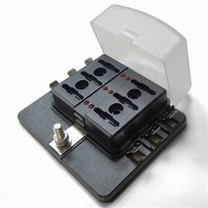 Universal 6 Way Covered 12v Circuit Blade Fuse Box With
