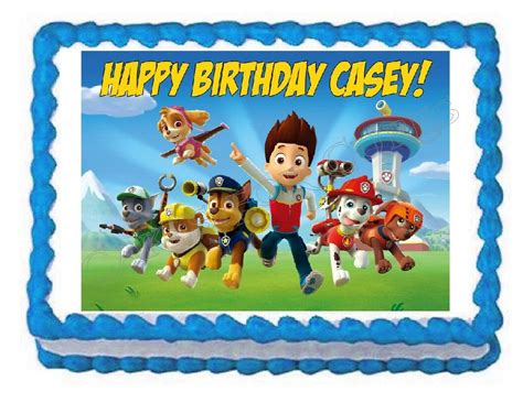 paw patrol edible party cake topper decoration frosting