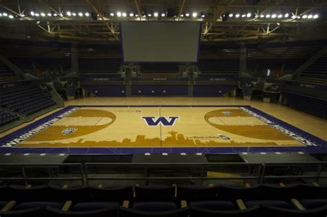 uw huskies   basketball court  seattle skyline