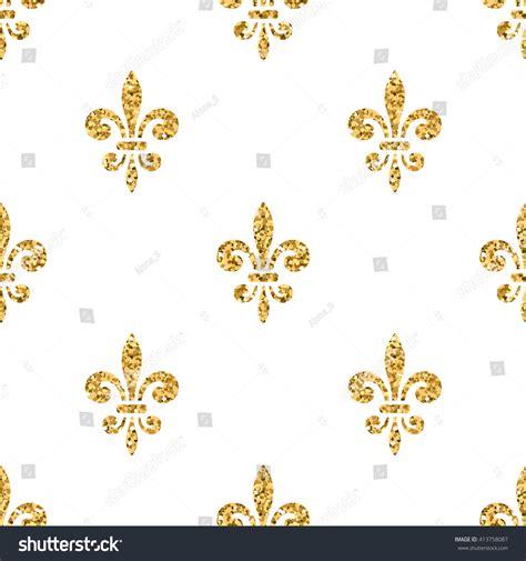 Golden Fleurdelis Seamless Pattern Gold Glitter Stock