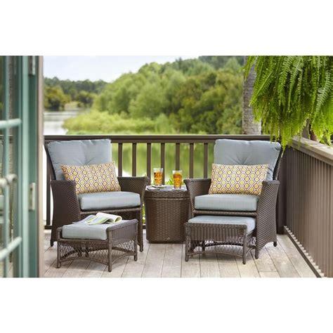 hampton bay blue hill  piece patio conversation set