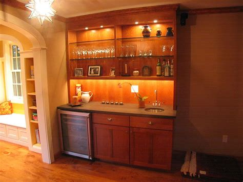 Bar Sink And Cabinets by Bar With Open Shelving And Cabinet Lighting