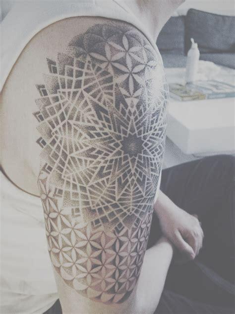 dotwork tattoo sacred geometry mandala flower  life