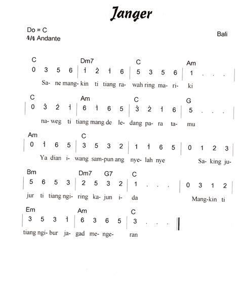 not pianika lagu daerah nasi not angka pianika lagu janger bali