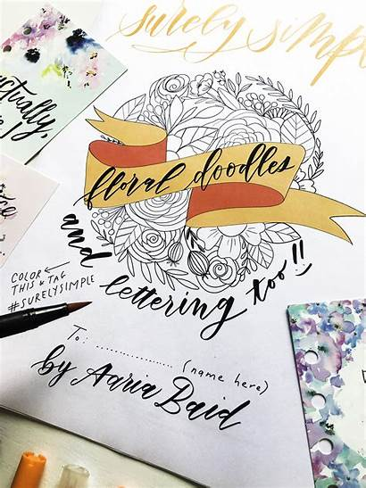 Doodles Simple Floral Surely Calligraphy Lettering Worksheet