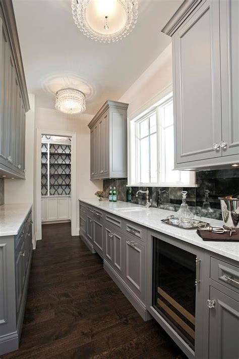 kitchens galley style gray galley style butlers pantry with beaded flush mounts 3562
