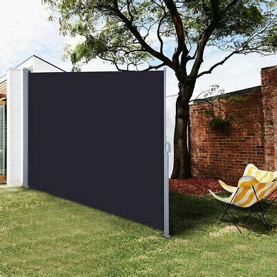 retractable side awning outdoor garden wall wind screen privacy divider sunshade ebay