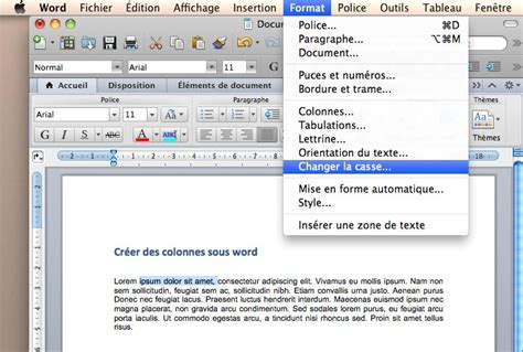 transformer un texte majuscule en minuscule sous word