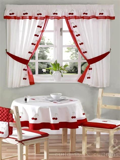 red white cherry embroidered kitchen curtain kitchen curtains cherry kitchen  white