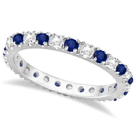diamond blue sapphire eternity band ring guard  white