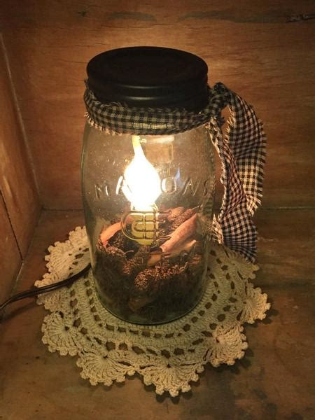 quart mason jar candle lamp primitive star quilt shop