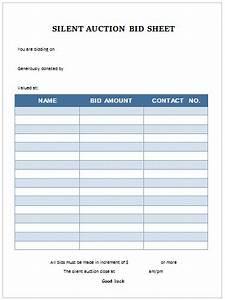 Free Bid Sheets Printable Silent Auction Bid Sheet Templates In Word Printable