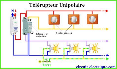 branchement telerupteur legrand schneider hager circuit