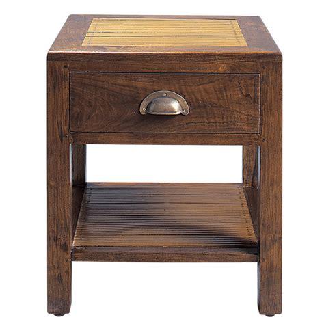 table de chevet teck table de chevet avec tiroir en teck massif l 40 cm bamboo maisons du monde