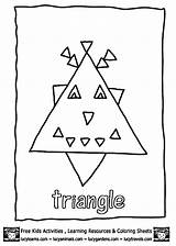 Coloring Preschool Triangle Pages Triangles Worksheets Trace Crafts Kindergarten Educational Toddler sketch template