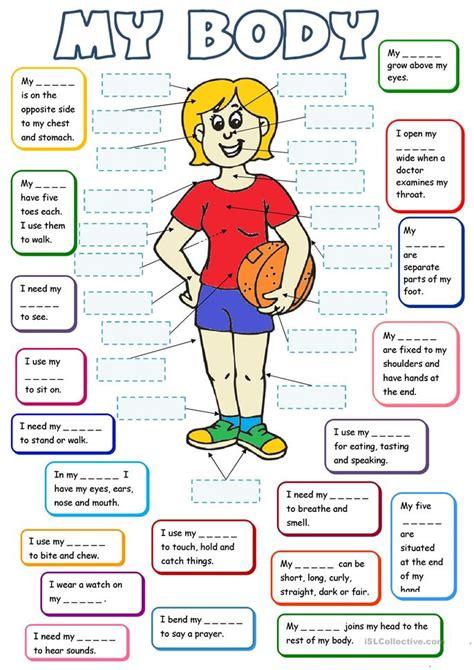 body  tasks worksheet  esl printable