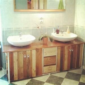meuble de salle de bains palettes caisses de vin et With meuble en caisse de vin