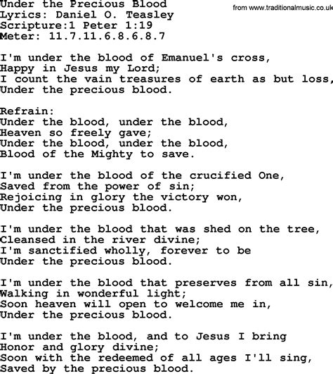 good old hymns under the precious blood lyrics