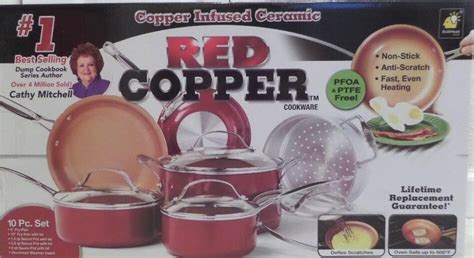 red copper infused ceramic pan  stick cookware  piece