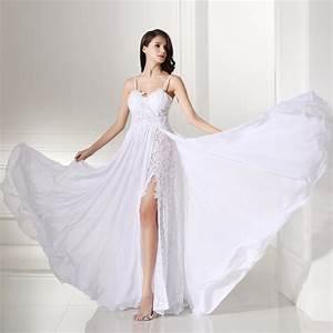 backles lace split chiffon beach wedding dress uniqisticcom With lace chiffon wedding dress