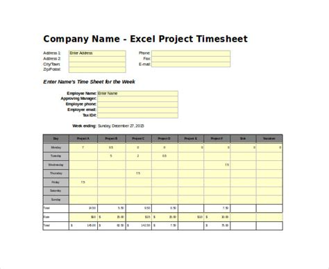 timesheet templates   word excel  documents