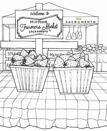 Coloring Market Farmers Pages Sacramento Midtown Printable