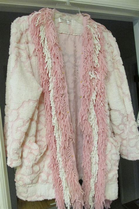 Chenille Bed Jacket by Chenille Jacket Made From Vintage Bedspread And Edged With