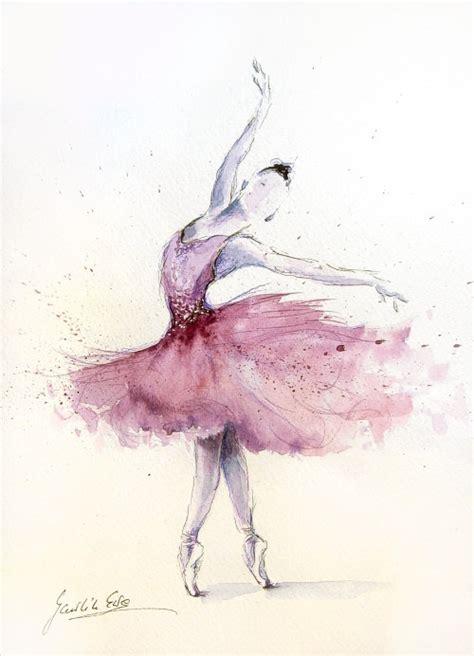 Original Watercolor Art Painting of BALLERINA by Ewa
