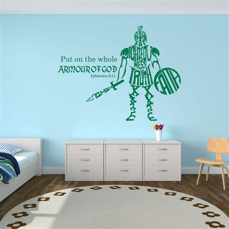 sports themed room whole armor of god ephesians 6 11 bible verse wall