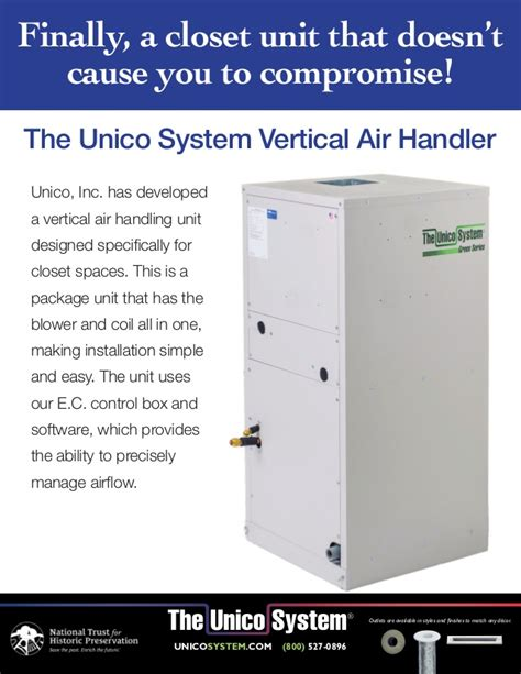 closet vertical air handler unit by unico available at