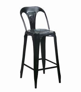 Chaise De Bar Industriel : tabouret de bar avec dossier en acier style industriel noir ~ Teatrodelosmanantiales.com Idées de Décoration