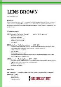 basic resume template 2017 chronological resume format 2017