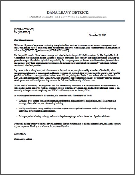 Hr Consultant Cover Letter Sle by Retail Management Hr Cover Letter Sle