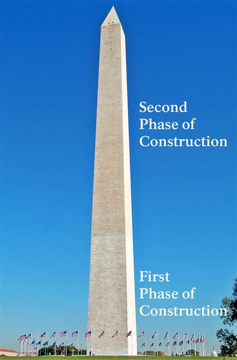 washington monument national built construction park stone stones change difference being did were
