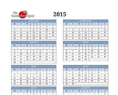 One Page Calendar Template 2015 Costumepartyrun