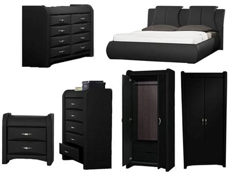 azure black faux leather bedroom furniture collection